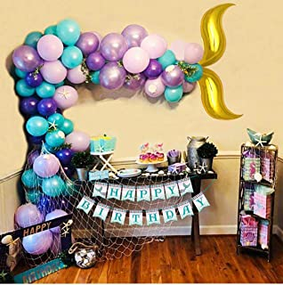 Mermaid Balloon Garland Arch Kit 122Pcs 16ft Long Gold Foil Tail Balloons and Birthday Banner Party Centerpiece Decorations for Girls Kids