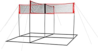 PowerNet Volleyball Four Square Net | Fun New Game That Sets Up in Minutes | Play at The Park Beach or Your Own Backyard | Court Marker Included