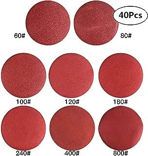 CBTONE 40 PCS 9-Inch NO-Hole Aluminum Oxide Sanding Disc, Hook & Loop Sander Paper(5 Each of 60 80 100 120 180 240 400 800)