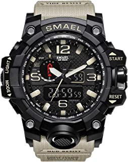 SMAEL Mens Digital Sports Watch Large Face Military Watches Electronic Waterproof Casual..
