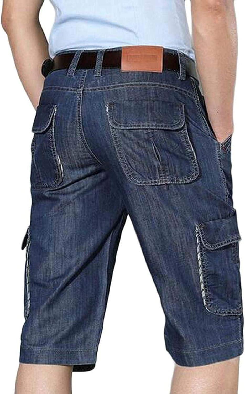 Mens Casual Business Summer Washed Denim Straight Leg Cargo Denim Shorts Jeans