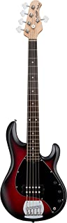 Sterling by Music Man StingRay Ray5 Bass Guitar in Ruby Red Burst Satin, 5-String
