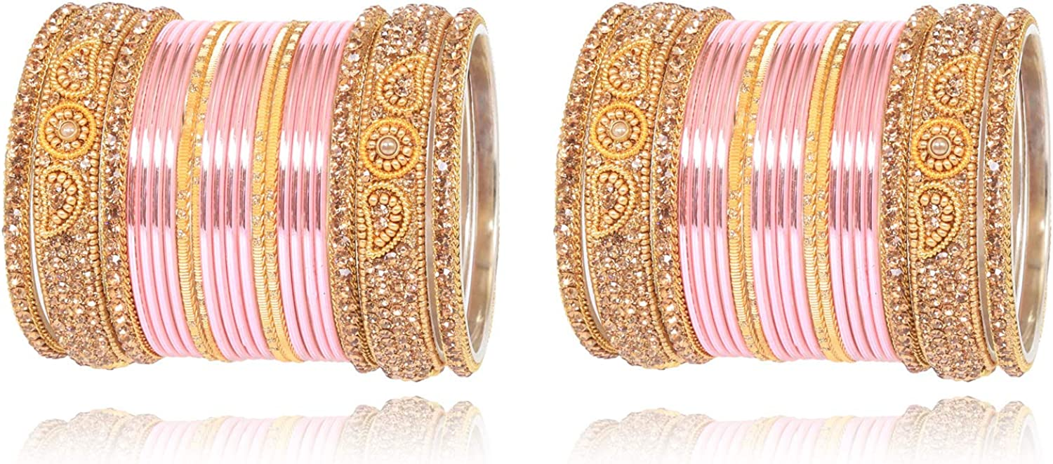 Sukh Collection Jewellery Indian Bollywood Style Multi Color Bangle Set Traditional Matching Outfit Alloy Metal Bracelets Partywear Arrangement Costume Lac Bangle Kade Women Wedding Jewelry