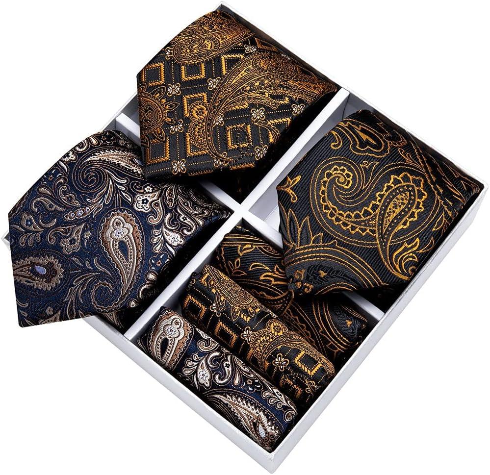 LQGSYT Men Tie Set 8cm 3 Pack Gold Black Blue Necktie Gift Box for Business Wedding Silk Handkerchief (Color : Gold Black Blue, Size : One Size)