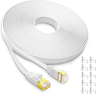 AOFORZ - Ethernet Cable Cat6 30ft - White Flat High Speed Internet Network Cable with Cable Clips - Computer Cable with Snagless Rj45 Connectors - (30 feet White)