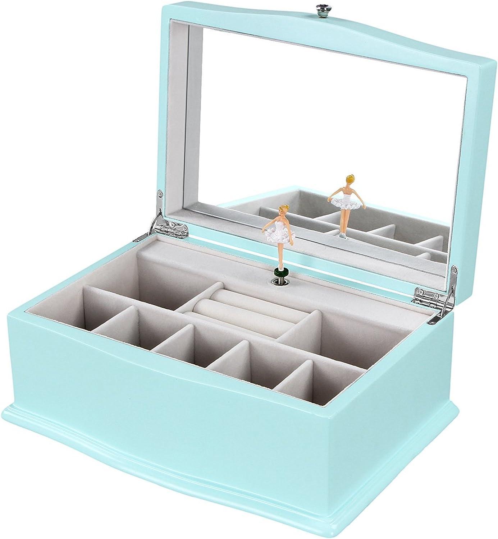 Songmics Ujow01q Girls Music Jewelry Turquoise Wooden Box Noykew4331