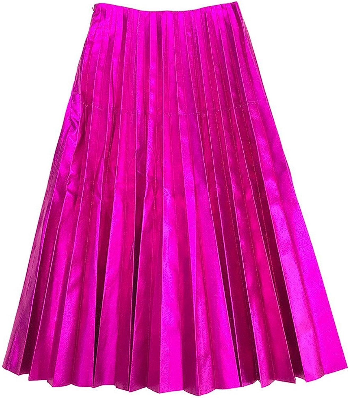 Get The Looks Metalic Leather Look Fuchsia Pleated Midi Skirt