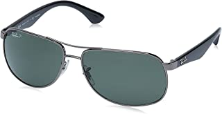 Men's RB3502 Rectangular Metal Sunglasses, Gunmetal/Polarized Green, 61 mm