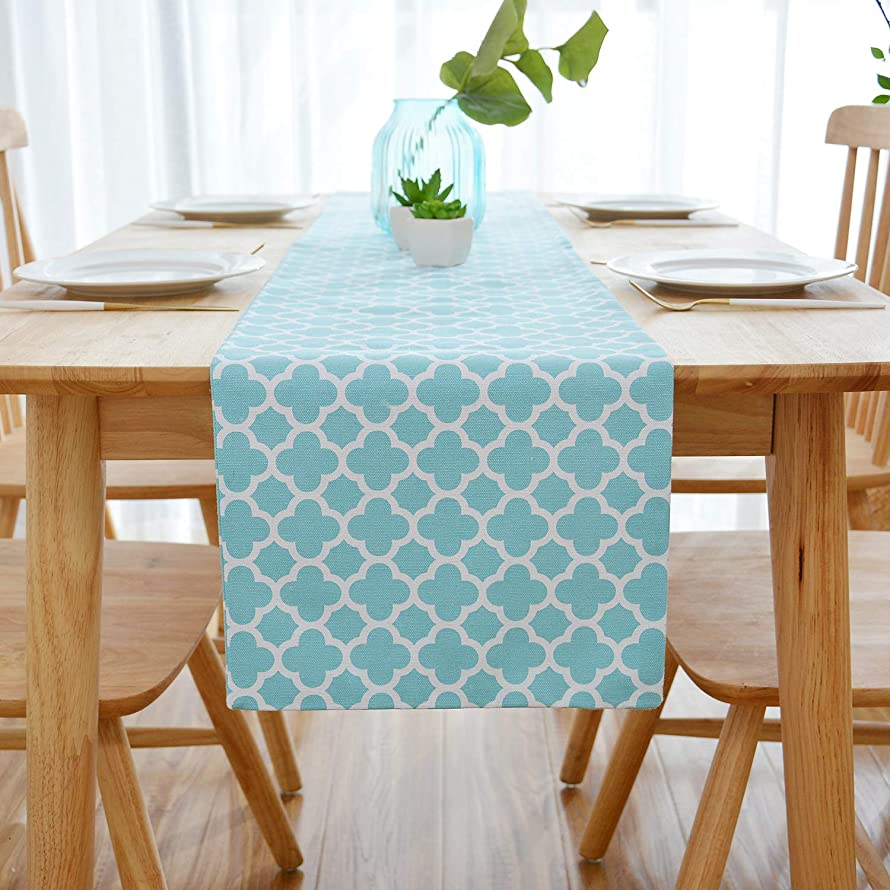 NATUS WEAVER 2 Side Lattice Cotton Table Runner for Dining Room, Foyer Table, Summer Parties and Everyday Use - 12 x 120, Teal