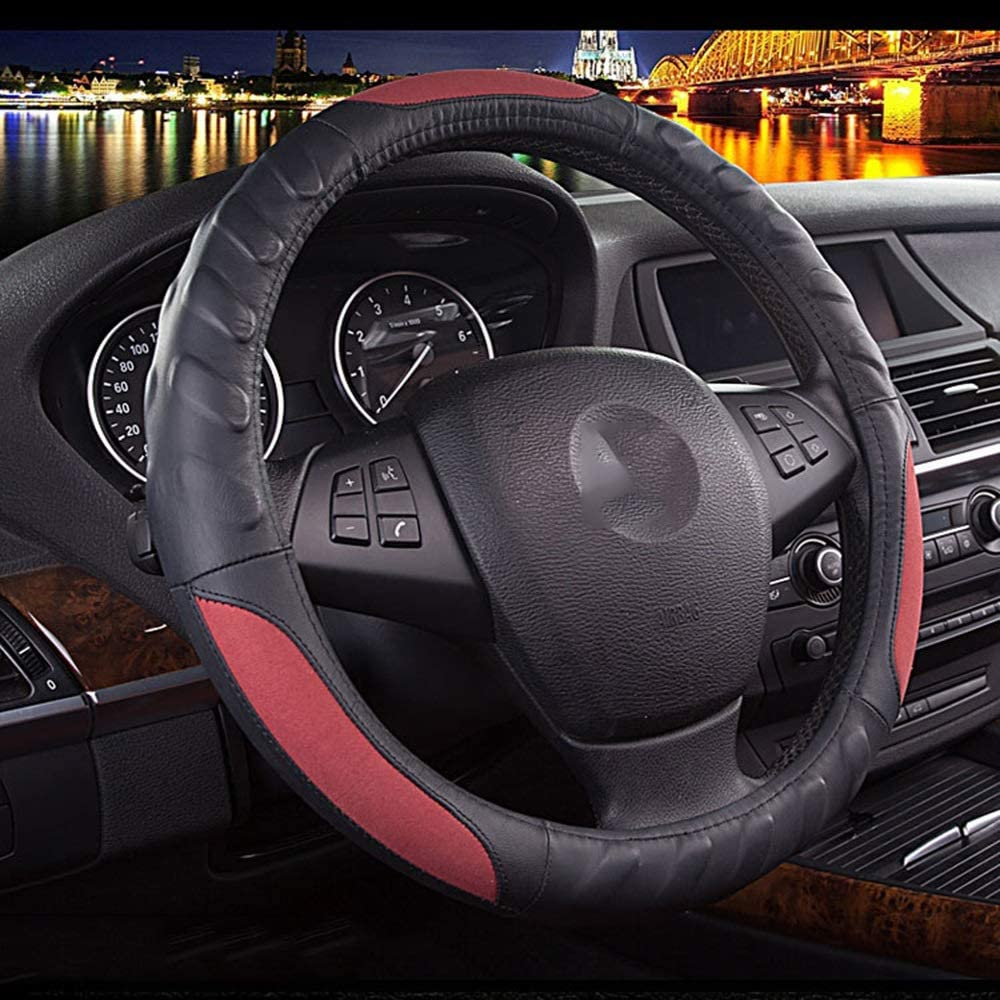 ZHHk Steering Wheel Cover Classic Black Deluxe Superlatite Cowhide Red Stee and Car