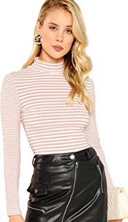 Women's High Neck Long Sleeve Slim Fit Stretch Striped T-Shirts