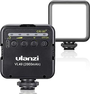 ULANZI LEDカメラビデオライト 充電式 バッテリー2000mAh内蔵 ソフト光 超高輝度 明るさ調整 3コールドシュー付き スマートフォンライト iPhone/DJI Osmo Pocket/Osmo Mobile 3/Gopro He...