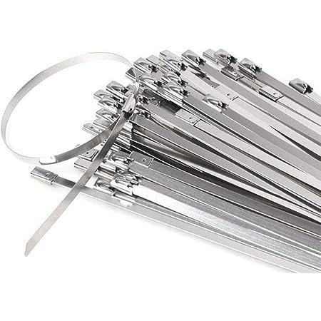 Stainless Steel Cable Ties, Tiberham 100 Pcs 7.9 Inches Heavy Duty Self-Locking Cable Zip Ties, Multi-Purpose Metal Exhaust Wrap Locking Ties for Home Office Garage Workshop