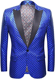 Allthemen Men's Shiny Sequins Suit Blazer Party Dress Suit Stylish Casual Jacket