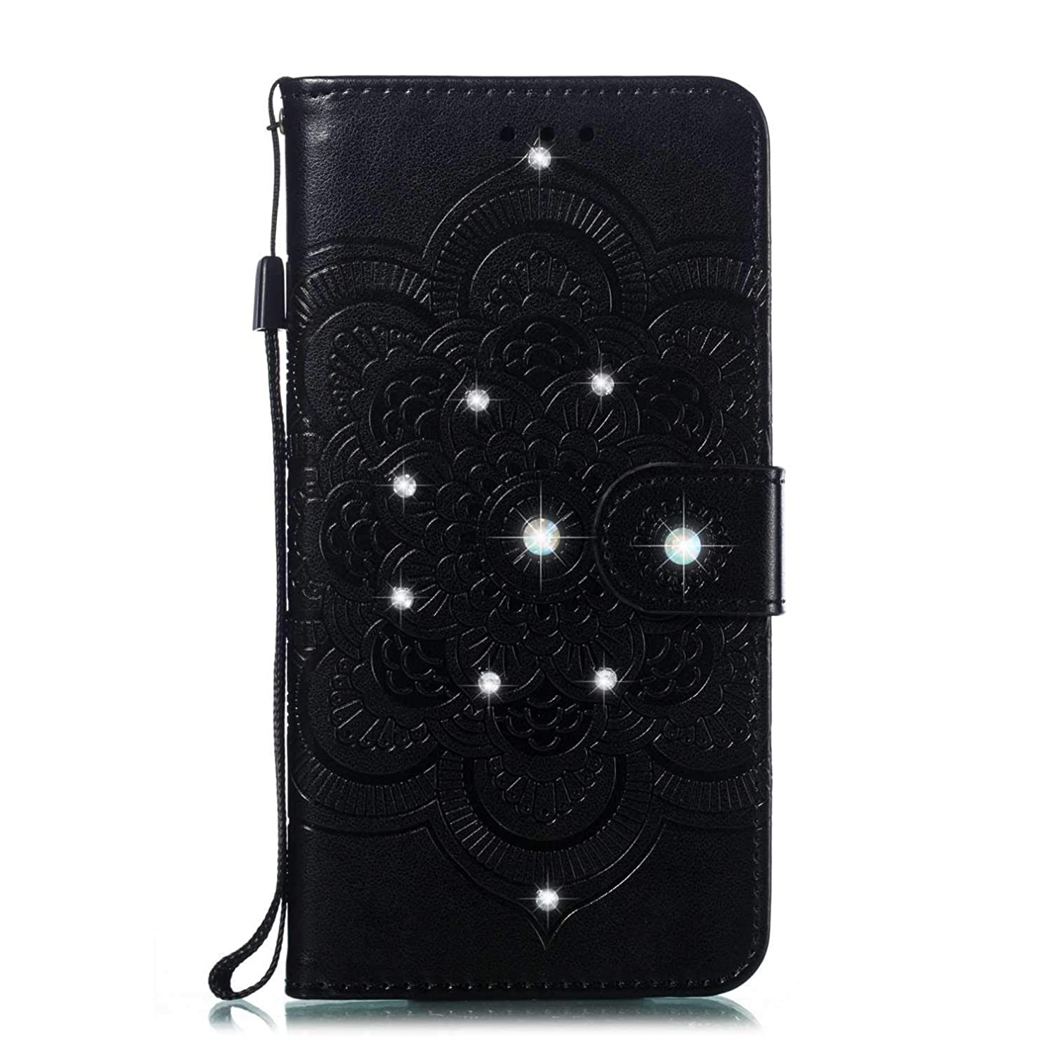 飢饉保存ソートOMATENTI Huawei P Smart ケース 手帳型 かわいい レディース用 合皮PUレザー 財布型 保護ケース ザー カード収納 スタンド 機能 マグネット 人気 高品質 ダイヤモンドの輝き マンダラのエンボス加工 ケース, 黒