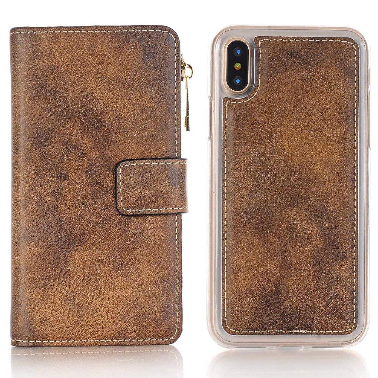 クールテープ閉塞iPhone X ケース 手帳型 INorton 全面保護カバー 耐衝撃 レンズ保護 カード収納 分離式 高品質レザー シリコン 軽量 マグネット式(ブラウン)