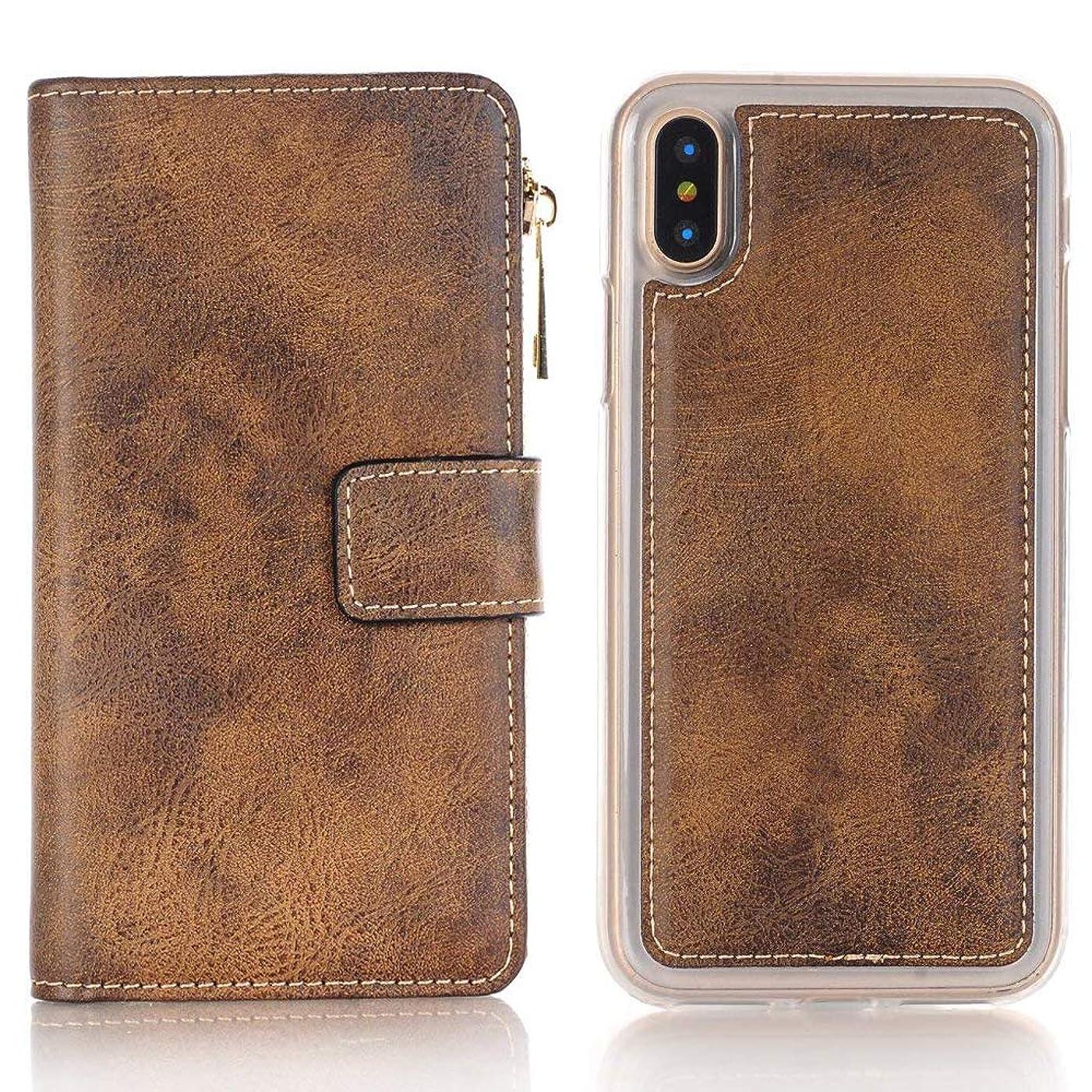 ディンカルビル適応リンクiPhone X ケース 手帳型 INorton 全面保護カバー 耐衝撃 レンズ保護 カード収納 分離式 高品質レザー シリコン 軽量 マグネット式(ブラウン)