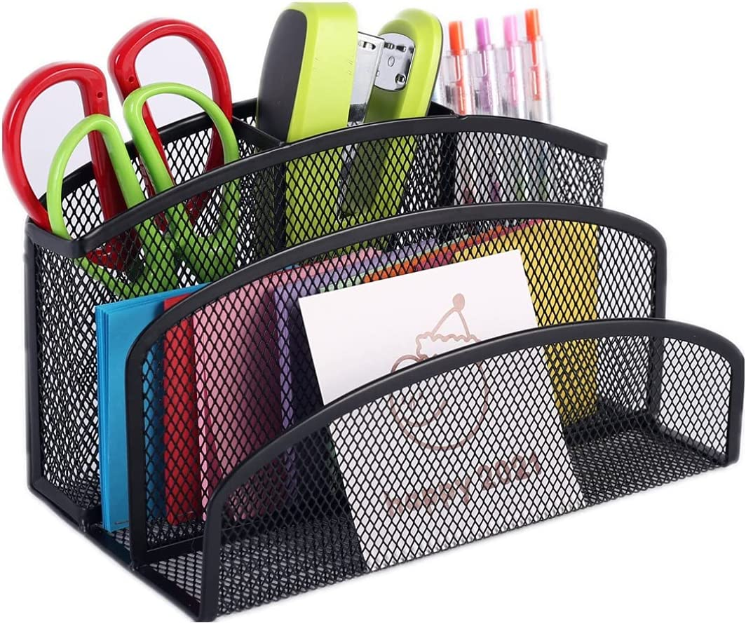 Letter Mail Sorter with Pen Holder, 2 Compartments for Mails, Files, Business Cards, Notebooks, Postcards, Letters, Office Supplies and 3 Slot Pen Holder Desk Mesh Organizer Storage Caddy, Black