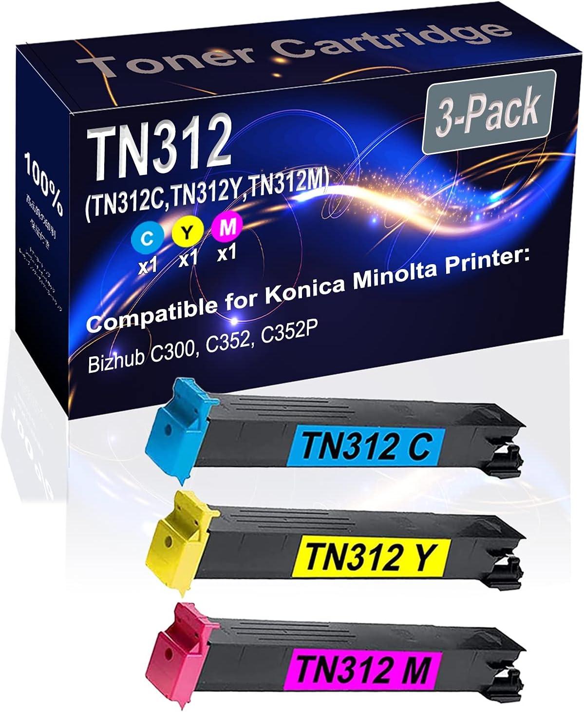3-Pack (C+Y+M) Compatible High Yield TN312 (TN312C TN312Y TN312M) Printer Toner Cartridge use for Konica Minolta Bizhub C300 C352 C352P Printers