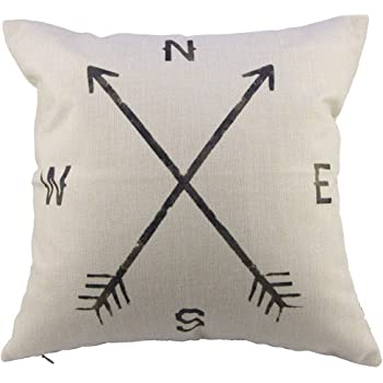 "Leaveland Cotton Linen Square Decorative Throw Pillow Case Cushion Cover Compass (16"" x 16"", Compass)"