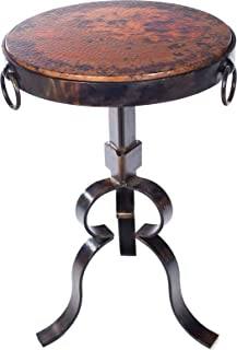 Knox and Harrison Round Iron Occasional Accent Table with Hammered Copper Top