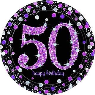 amscan 9900612 50th Birthday Glittery Pink Paper Plates-23cm-8 Pcs