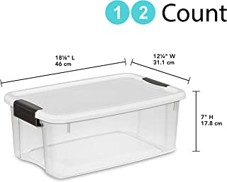STERILITE 19849806 18 Quart/17 Liter Ultra Latch Box, Clear with a White Lid and Black Latches (18 Quart, 12-Containers)