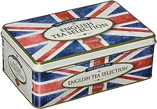 New English Teas - English Tea Selection Breakfast, Earl Grey, Afternoon 100 Tea Bags - Union Jack Vintage Tin