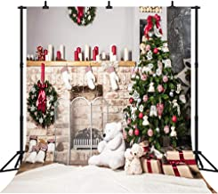 DePhoto 10x10Ft Seamless Christmas Theme Bear Fireplace for Party Vinyl Photography Backdrop Photo Background Studio Prop SDJ005FB