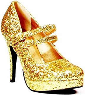 ELLIE 421-JANE-G 4 Double Strap Glitter Mary Jane 12 Size Gold Glitter