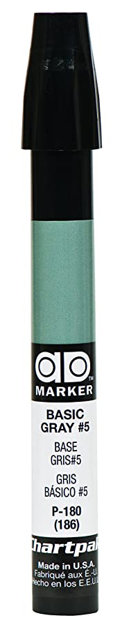 The Original Chartpak AD Marker, Tri-Nib, Basic Gray 5, 1 Each (P180)