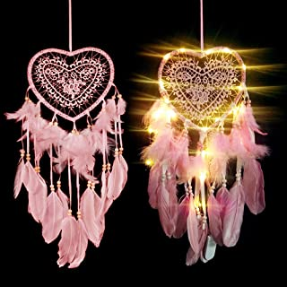 SSAWcasa Dream Catcher for Kids,Dreamcatcher with Led Lights,Girls Bedroom Wall Decor,Colorful Wall Hanging Decorations for Baby Room Birthday Wedding Party Supplies Car Ornament Gift (Heart)