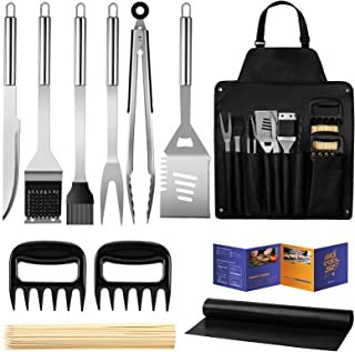 Veken BBQ Grill Accessories, 11PCS Stainless Steel BBQ Tools Set for Men & Women Grilling Accessories with Storage Apron G...