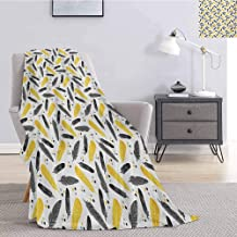 Luoiaax Yellow Commercial Grade Printed Blanket Bird Feathers Patterns with Polka Dots Exotic Style Tribal Design Animal Print Queen King W70 x L70 Inch Yellow Black