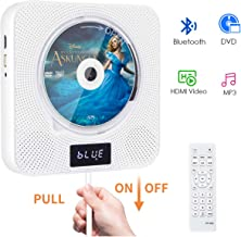 Portable Bluetooth DVD CD Player with Remote, Wall Mounted CD DVD Player with Built-in HiFi Speakers NTSC, Anti-Skip Protection HDMI Output for TV Projector, Music Player Support FM Radio USB Playing