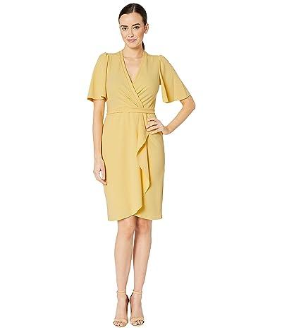 Donna Morgan Crepe Faux Wrap w/ Flutter Sleeve (Daffodil) Women