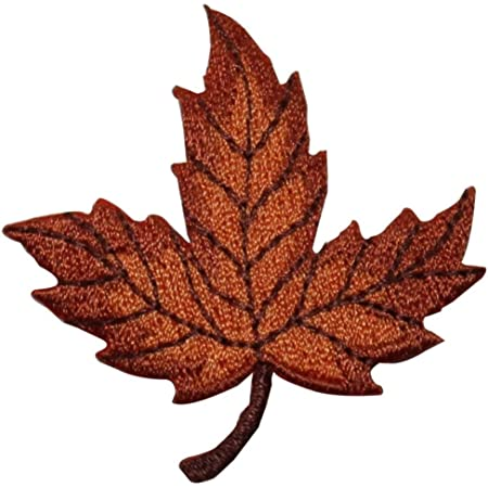 ID 1427ABCD Set of 4 Assorted Fall Leaf Patches Embroidered Iron On Applique