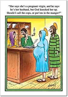 Call Cops - Funny Religious Merry Christmas Greeting Card with Envelope (4.63 x 6.75 Inch) - Mary and Joseph Joke, Religion Happy Holiday Humor - Xmas Cartoon Stationery Notecard 1570