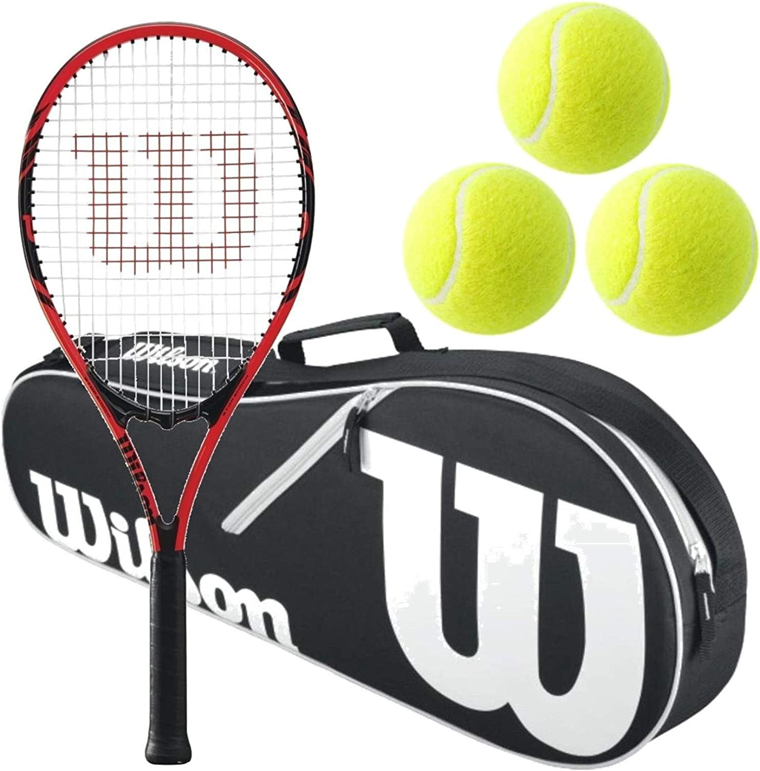 Wilson Federer Black Red Adult Pre-Strung Recreational Tennis Racquet (Oversize or Midplus) Starter Kit or Set Bundled with a Black White Advantage II Tennis Racket Bag and (1) Can of 3 Tennis Balls