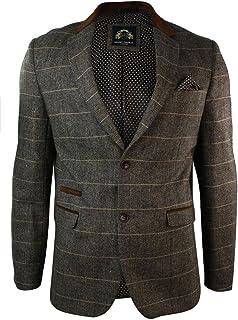 Marc Darcy Mens Check Vintage Herringbone Tweed Tan Brown Blazer Jacket Fitted