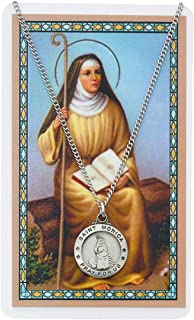 Hail Mary Gifts ST Monica Prayer Card Set, Pewter Medal Includes 24