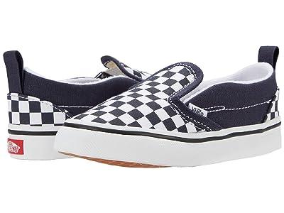 Vans Kids Slip-On V (Infant/Toddler) ((Checkerboard) India Ink/True White) Boys Shoes