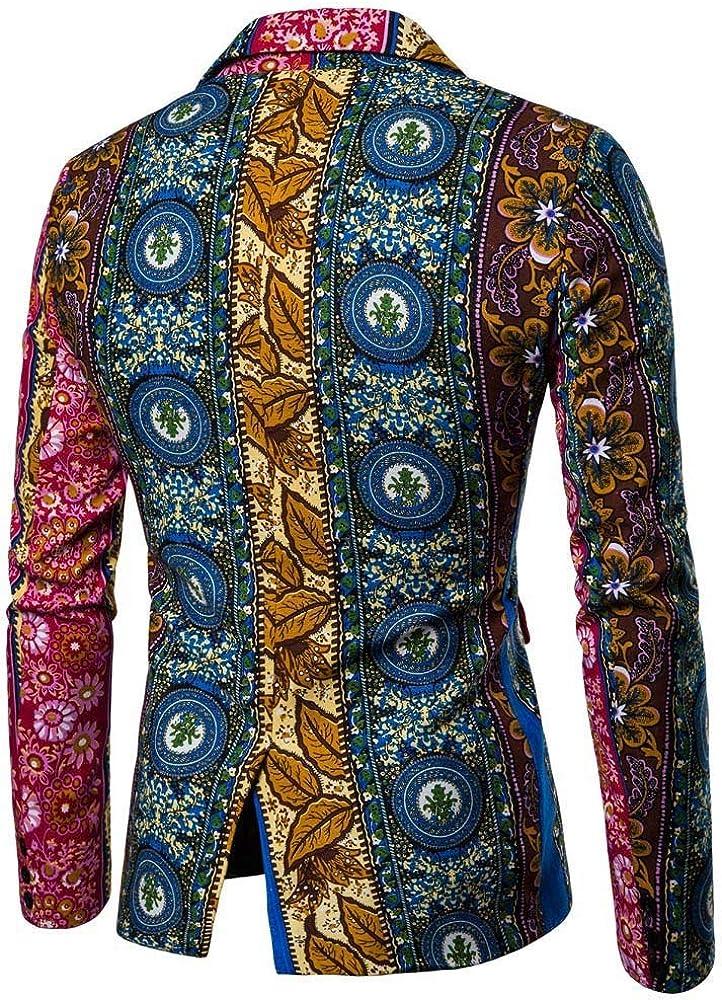 MODOQO Men's Casual Long Sleeve Print Slim Fit Dashiki Cardigan Suit Blazer for Party Prom