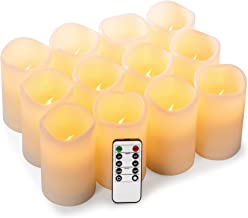 """Best Enpornk Set of 12 (D:3"""" x H:4"""") Flameless Candles Battery Operated LED Pillar Real Wax Electric Candles with Remote Control Cycling 24 Hours Timer Review"""