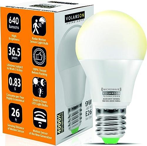 Motion Sensor Light Bulb Outdoor - Led Bulbs wiht Smart Highly Sensing Radar 360 Motion Activated Detector E26 Base B...