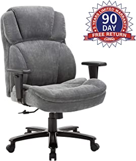 Ergonomic Big & Tall Executive Office Chair with Upholstered Swivel 400lbs High Capacity Adjustable Height Thick Padding Headrest and Armrest for Home Grey
