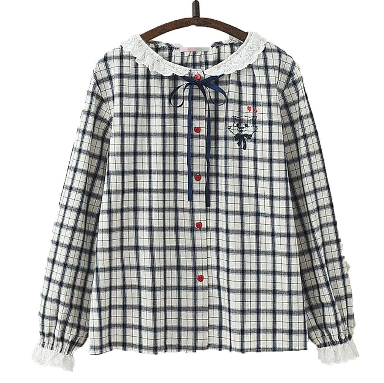 [美しいです] 春 秋 レディーズ チェック柄 長袖 シャツ ゆったり カジュアルウェア 学院風 森ガール ブラウス