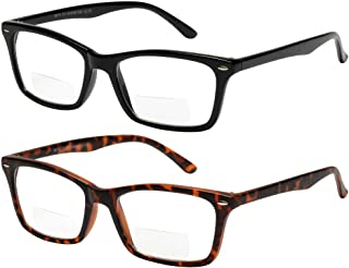 Bifocal Reading Glasses 2 Pack Fashion Comfort Quality Bifocal Readers for Men and Women