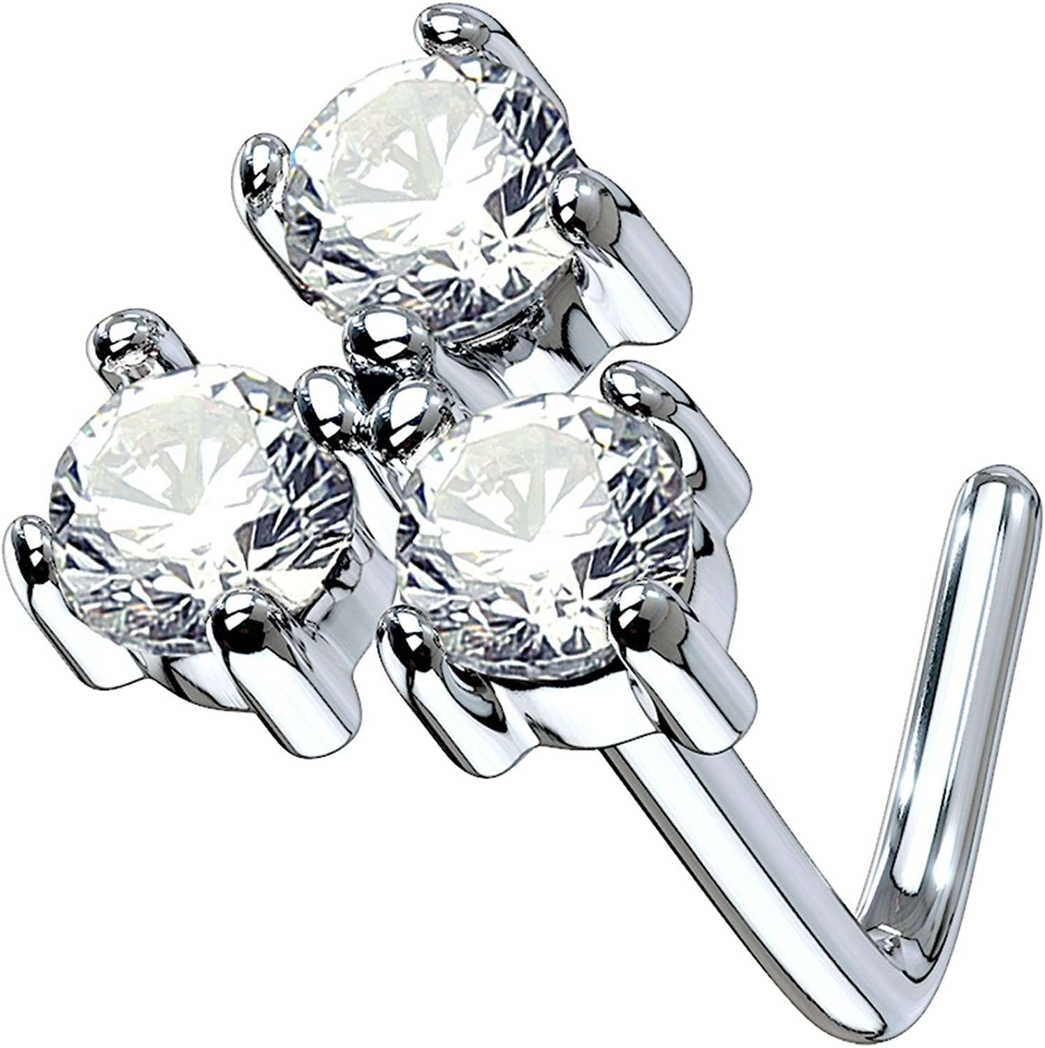 BodyJ4You 20G Nose Miami service Mall Ring L-Shape Bend CZ Clear Stud Flower Surgic