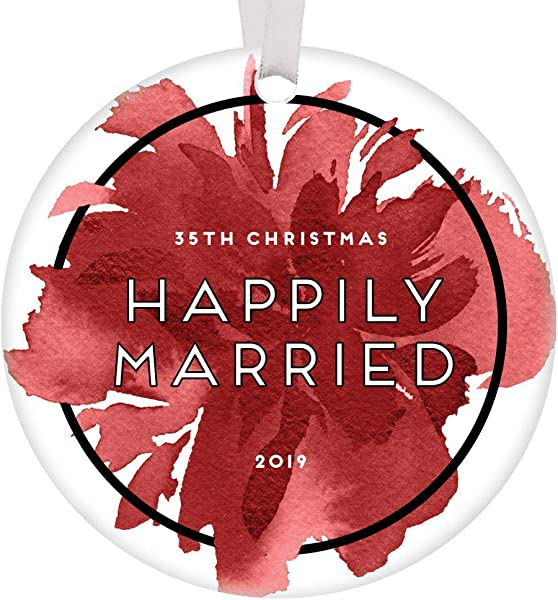 35th Christmas 2019 Ornament Happily Married Couple Keepsake Wedding Anniversary Party Gifts Husband Wife Mom Dad Grandparents 35 Year Marriage Pretty Abstract Watercolor Floral 3 Flat Circle Ceramic